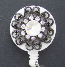 FLOWER BLING  Retractable Reel ID Card Badge Holder Key Chain Ring Security
