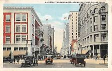 c.1920 Early Cars Stores Main St. looking West from Evray St. Dallas TX postcard