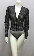 GIORGIO ARMANI BODYSUIT NWOT NAVY & BEIGE TINY SQUARES PATTERN SHEER 44 L FITS S