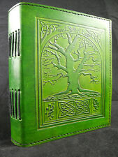 Wicca TREE of LIFE Handmade GREEN Leather Journal - Book of Shadows - Grimoire