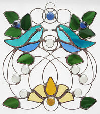 Beautiful Handcrafted Stained Glass Birds Art Nouveau 5 Suncatcher