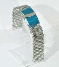 Stainless steel shark mesh watch deployment strap band bracelet 20mm FREE UK P&P