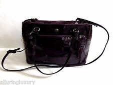 COACH F32581 Peyton Signature Embossed Leather Tote Handbag Plum Purse