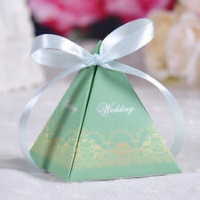 10 pcs Triangular Lace Wedding Party Candy/Favor Box - G