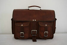 "16x12"" Real Brown Leather Office Briefcase Macbook Laptop Padded Satchel Attache"
