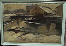 Sally Philipsen 1879-1936, winterliche Hafenszene, um 1900/20