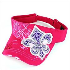 VISOR HAT - WOMENS HOT PINK   VISOR WITH RHINESTONE FLEUR DE LIS