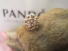 AUTHENTIC Pandora Rose gold OPENWORK HEART Charm 780964 aleR