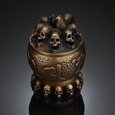 Handmade Bronze kapala Human Skull Incense Burner Censer Limited edition