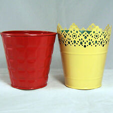 "Flower Pots Set Of 2 Tin Metal 4.5""Tall Yellow Pierced & Brick Color Embossed"