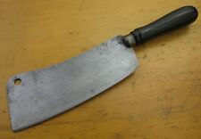 Old Primitive Carbon Steel Meat Cleaver w/ Black Round Handle Vintage or Antique