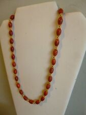 Red Sea Coral And Gold Native American Southwestern Style Necklace