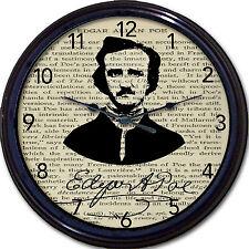 Edgar Allan Poe Steampunk Wall Clock Raven Poet Goth Gothic Victorian Vintage