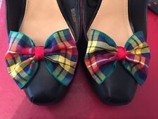 Plaid Shoe Clips 4 Shoes Buchanan Tartan Bows Pinup Vintage Retro Rockabilly