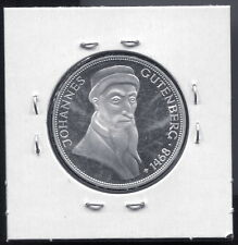 GERMANY - SUPERB RARE GUTENBERG  PROOF SILVER 5 MARK, 1968 G