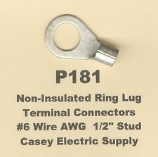 """20 Non-Insulated RING Lug Terminal Connector Uninsulated #6 Wire 1/2"""" Stud MOLEX"""