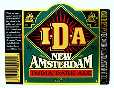 New Amsterdam  NEW AMSTERDAM IDA - INDIA DARK ALE beer label NY 12oz With CRVs