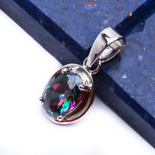 """NEW CUTE Rainbow Colored Topaz .925 Sterling Silver Pendant .75"""""""