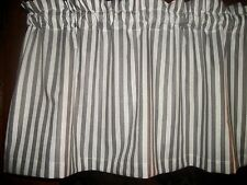 Gray White Striped Stripes Stripe fabric window topper curtain Valance