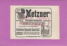 BERLIN, Werbung 1906, Metzner's Korb-Waren Kinderwagen Kinderbett