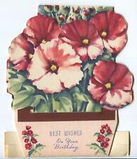 VINTAGE PINK MAUVE PETUNIA GARDEN FLOWERS POTTED PLANT STAND UP ART CARD PRINT