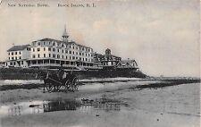 1910 New National Hotel Shore Block Island RI post card