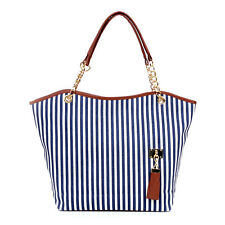 Women's Blue Striped Canvas Snap Candid Tote Shoulder Bag COD PAYPAL