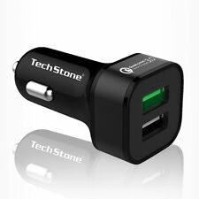 Car Charger, TechStone Dual USB Qualcom 3.0 Quick Fast Charge Car Charger