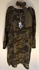 Italian Lagenlook Camouflage Tunic Top Jumper Dress With Scar Size 14 16 18 20