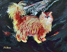 Original Acrylic Abstract Cat Painting, Gladsome Anyhow, Artist Signed 2000-Now