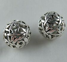 6pcs Tibetan Silver Round Hollow Ball Bead Spacers 18mm ad18435