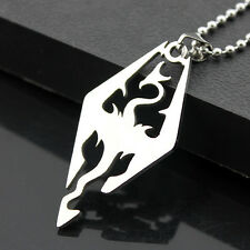 Classic 316L Stainless Steel Silver Tone Chinese dragon Pendant Necklace #08