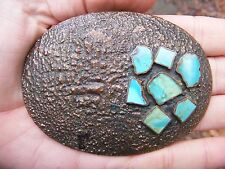 "Vtg TURQUOISE CHIPS Belt Buckle 4"" BELL Abstract ART Copper Inlay Silver RARE VG"