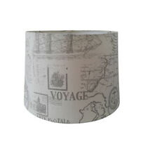 "13"" EMPIRE DRUM SHADE NATURAL LINEN TYPE COLOUR+VOYAGE PRINT FOR TABLE LAMP USE"