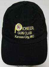 PIONEER GUN CLUB Kansas City Missouri ADVERTISING Adjustable Strap BLACK HAT CAP