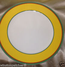 "VILLEROY & BOCH TIPO VIVA YELLOW DINNER PLATE 10 1/2"" YELLOW BAND GREEN RED LINE"