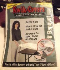 Kwik 8 Ft. Banquet Disposable Reusable Custom Fits Plastic Table Cloth (White)