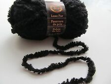 "Lion Brand ""Luxe Fur"" Wool Blend Yarn in Onyx Black"