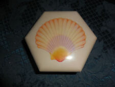 HEXAGON SHAPE HARD PLASTIC TRINKET BOXES WITH SEA SHELL ON TOP SET OF 3 EUC