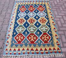 Turkish Rug Multi Color Oushak Handmade Kilim Rug Pure Wool Vegetable Dye Carpet