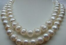 35INCH NATURAL HUGE SOUTH SEA 10-11MM WHITE PEARL NECKLACE 14k CLASP