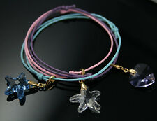 Heart Starfish Crystal 18k gold plated Silver Charm Bracelet Swarovski Elements