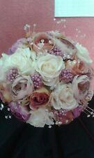 Dusky pink purple ivory Bridal Bouquet Silk