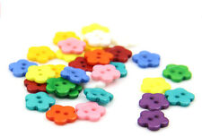 100pcs Mixed Color Fantastic Flower Shaped Resin Buttons Versatile Sewing Tools