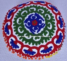 Uzbek Suzani Embroidered Work Round Cushion Cover Case With Pom Pom Size 16x16""