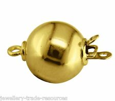 9ct Yellow Gold 10mm Round Pearl / Bead Necklace Jewellery Clasp Catch