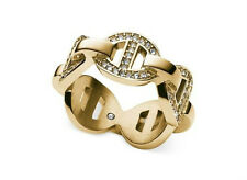 Michael Kors Gold Stainless Heritage Maritime Chain Link Pave Ring 8  MKJ3993