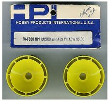 VINTAGE RC Car HPI Racing W-F030 Yellow Racing Wheels Front 1pr ON-Road OldStock