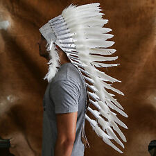 CHIEF INDIAN HEADDRESS 90CM WHITE FEATHERS Native American Costume war bonnet