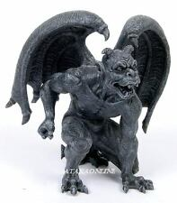 SHORT HORNED GARGOYLE STATUE. GOTHIC GUARDIAN FIGURINE